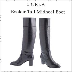 J. Crew Booker Tall Midheel Black Leather Boot 12